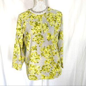 J. Crew // Yellow, Grey Floral Pullover Sweatshirt